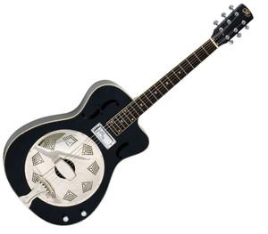 "AER9CEBK Essex ""00"" Resonator Electric/Acoustic Round Neck Guitar- Black"