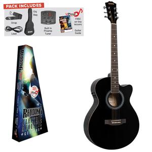 REDDING - Electric/Acoustic Package. Grand Concert Guitar- Black