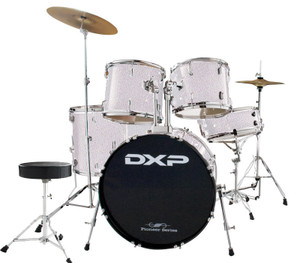 DXP 'Pioneer' Series Rock Drumkit with Cymbals & Throne – Metallic Silver