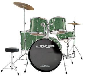 DXP 'Pioneer' Series Rock Drumkit with Cymbals & Throne –  Metallic Emerald Green