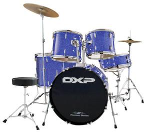 DXP 'Pioneer' Series Rock Drumkit with Cymbals & Throne – Metallic Blue