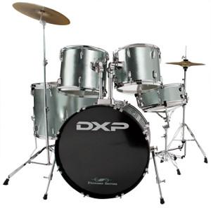 DXP 'Pioneer' Series Rock Drumkit with Cymbals & Throne –  Gun Metallic Grey