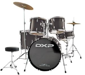 DXP 'Pioneer' Series Rock Drumkit with Cymbals & Throne – Black