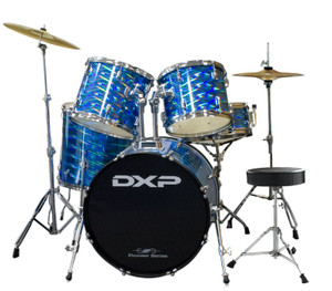 DXP 'Pioneer' Series Rock Drumkit with Cymbals & Throne – 3D Blue