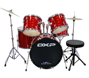 DXP 'Pioneer' Series Rock Drumkit with Cymbals & Throne – 3D Laser Red