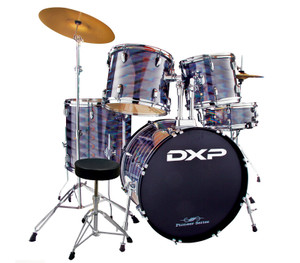 DXP 'Pioneer' Series Rock Drumkit with Cymbals & Throne – 3D Silver