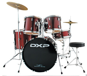 DXP 'Pioneer' Series Rock Drumkit with Cymbals & Throne – Wine Red