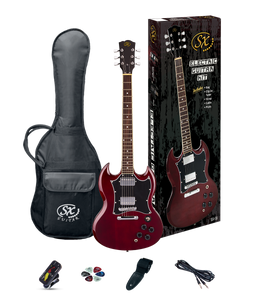 ESSEX -Beginners SG Style Electric Guitar & Amp Pack- Transparent Wine Red