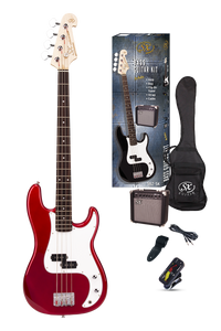 ESSEX -Beginners ST Style Bass Guitar & Amp Pack- Candy Apple Red