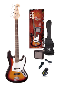 ESSEX -Beginners Jazz Style Bass Guitar & Amp Pack- 3 Tone Sunburst