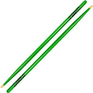 Zildjian - 5A Wood Tip Drumsticks Acorn - Neon Green, Yellow or Pink