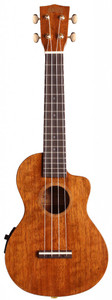 MAHALO Hano Elite Series Electric/Acoustic Concert Ukulele with Cutaway and Pickup Vintage Natural Gloss.