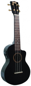 MAHALO Hano Elite Series Electric/Acoustic Concert Ukulele with Cutaway and Pickup Transparent Black Gloss.