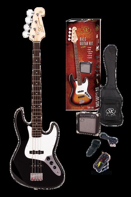 ESSEX  Beginners Jazz Style Bass Guitar & Amp Pack  Black