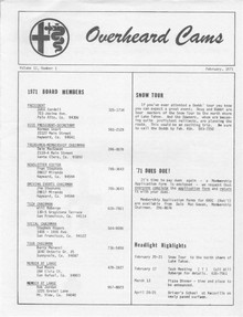 Overheard Cams May 1972
