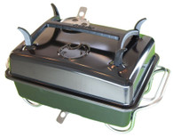 Fuel efficient, clean hands Raptor portable charcoal grill with black ceramic enamel lid