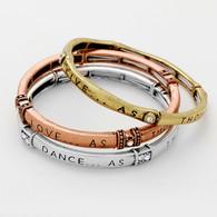 """Live Love Dance Sing"" message stack stretch bracelets  3 PCS"