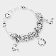 Metal horse & horseshoe charm bracelet