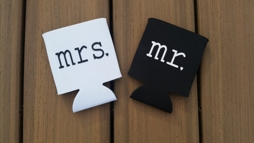 Mr. and Mrs. Wedding Koozies.  Personalized.  Black and White.