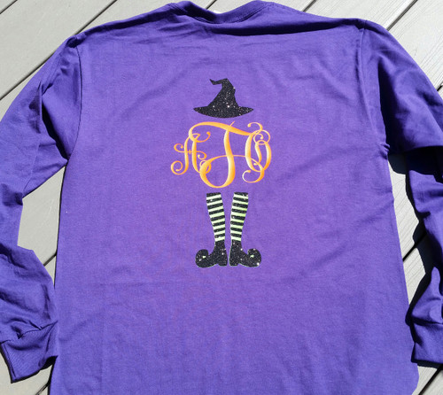 Halloween Witch Monogrammed Shirt - Trick or Treat Shirt - Front and Back Personalization - Tshirt - Long Sleeve Tee - Hoodie
