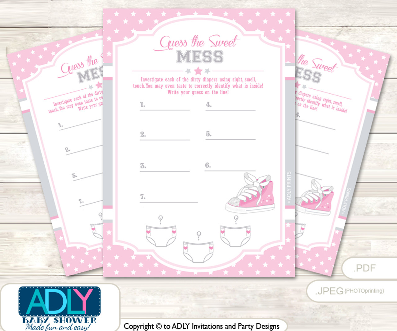 Girl Sneakers Dirty Diaper Game Or Guess Sweet Mess Game For A Baby Shower  Pink,