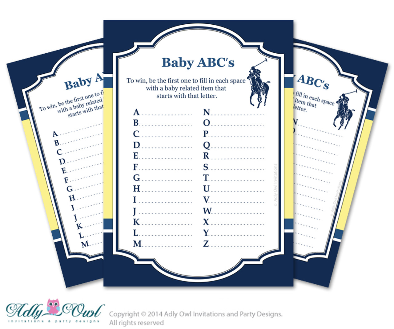 Boy Polo Baby ABCu0027s Game, Guess Animals Printable Card For Baby Polo Shower  DIY Navy