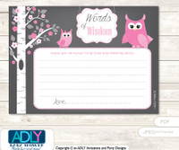Forest Girl Owl Words of Wisdom or an Advice Printable Card for Baby Shower, Spring