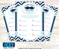 Mustache Beau Guess Baby Food Game or Name That Baby Food Game for a Baby Shower, Teal Blue Chevron