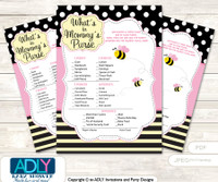 Pink Bumble Bee What is in Mommy's Purse, Baby Shower Purse Game Printable Card , Babee,  Yellow