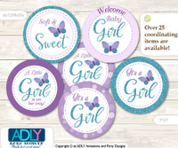 Baby Shower Purple Butterfly Cupcake Toppers Printable File for Little Purple and Mommy-to-be, favor tags, circle toppers, Turquoise, Bokeh