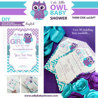 Purple Teal Girl Owl Baby Shower Invitation