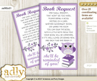 Request a Book Instead of a Card for Girl Owl Baby Shower or Birthday, Printable Book DIY Tickets, Chevron, Purple Grey