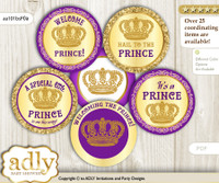 Baby Shower Royal Prince Cupcake Toppers Printable File for Little Royal and Mommy-to-be, favor tags, circle toppers, Purple, Gold Crown