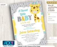 Neutral Giraffe Shower Invitation - Grey, Yellow and Mint
