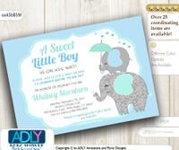 Grey, Blue, Mint Elephant Invitation for Boy shower