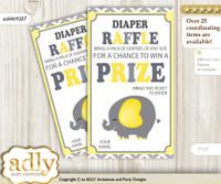 Peanut Elephant Diaper Raffle Printable Tickets for Baby Shower, Yellow Grey, Chevron