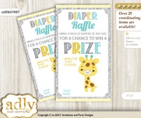 Baby Giraffe Diaper Raffle Printable Tickets for Baby Shower, Yellow Mint, Neutral