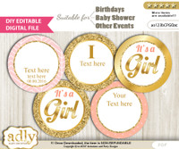 DIY Text Editable Baby Girl Cupcake Toppers Digital File, print at home, suitable for birthday, baby shower, baptism