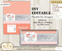 DIY Personalizable Peanut Elephant Chocolate Bar Candy Wrapper Label for Peanut  baby shower, birthday Peach Pink , editable wrappers