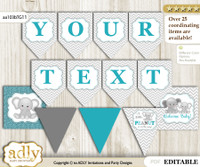 DIY Personalizable Peanut Unisex Printable Banner for Baby Shower, Teal Gray, Chevron