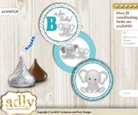 Printable  Peanut Unisex Candy Kisses for Baby Peanut Shower DIY Teal Gray , Chevron