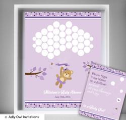 PurpleBear  Guest Book Alternative for a Baby Shower, Creative Nursery Wall Art Gift,  Teddy,  Polka
