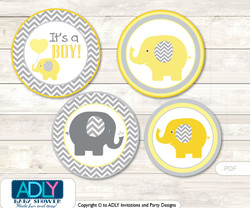 Printable  Boy Elephant Candy Kisses for Baby  Boy Shower DIY  Yellow Grey ,  Chevron