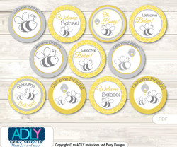 Baby Shower  Babee Bumble Cupcake  Toppers Printable File for Little  Babee and Mommy-to-be, favor tags, circle toppers,  Neutral,  Bee