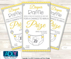 Babee Bumble Diaper Raffle Printable Tickets for Baby Shower,  Bee,  Neutral
