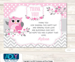 Spring Owl Thank you Printable Card with Name Personalization for Baby Shower or Birthday Party