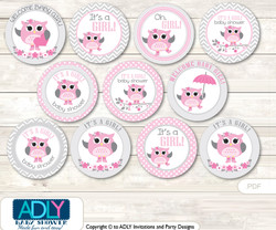 Baby Shower Spring Owl Cupcake Toppers Printable File for Little Spring and Mommy-to-be, favor tags, circle toppers, Pink, Grey