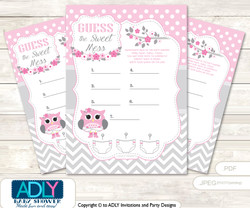 Spring Owl Dirty Diaper Game or Guess Sweet Mess Game for a Baby Shower Grey, Pink