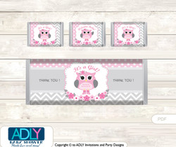 Spring Owl Chocolate Bar Wrapper and Nuggets Candy Wrapper Label for Baby Spring Shower Grey , Pink