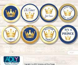 Baby Shower  Prince Royal Cupcake Toppers Printable File for Little  Prince and Mommy-to-be, favor tags, circle toppers,  Blue,  Gold